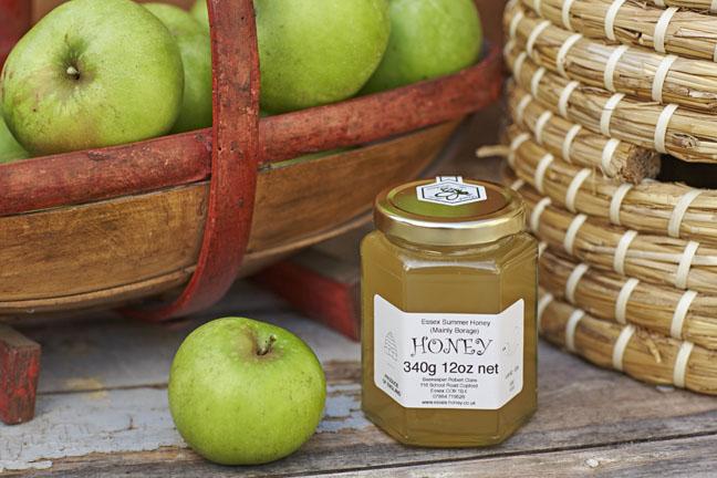 Essex Summer Multi Floral Honey (Mainly Borage)  12oz 340g Hexagonal Glass Jars