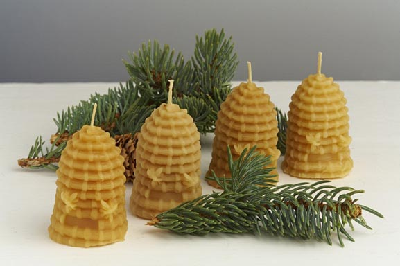 FOUR Hand Made Pure Beeswax Skep Beehive Candles