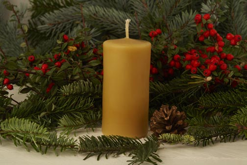 Large Cylinder Hand Poured Beeswax Candle