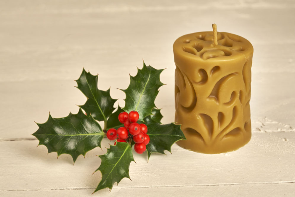 Cylinder Beeswax Candle Casted Design