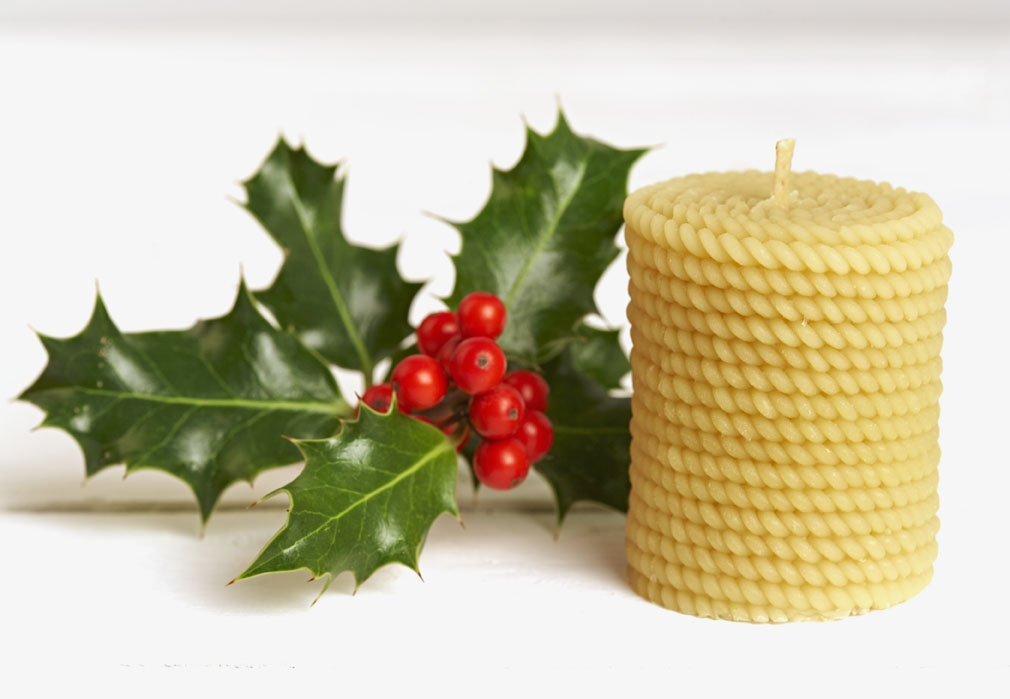 Beeswax Candle Cylinder with String Decoration