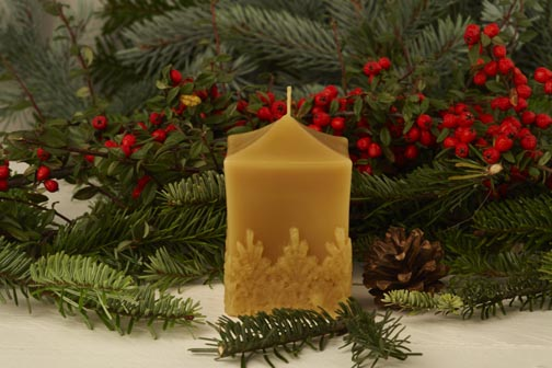 Cube Shaped Hand Poured Beeswax Candle With Lace Design