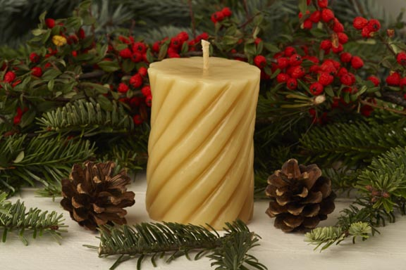 Curled Cylinder Pure Beeswax Candle